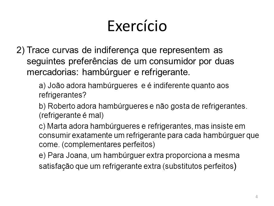 Exercício 2)Trace curvas de indiferença que representem as seguintes preferências de um consumidor por duas mercadorias: hambúrguer e refrigerante. a)