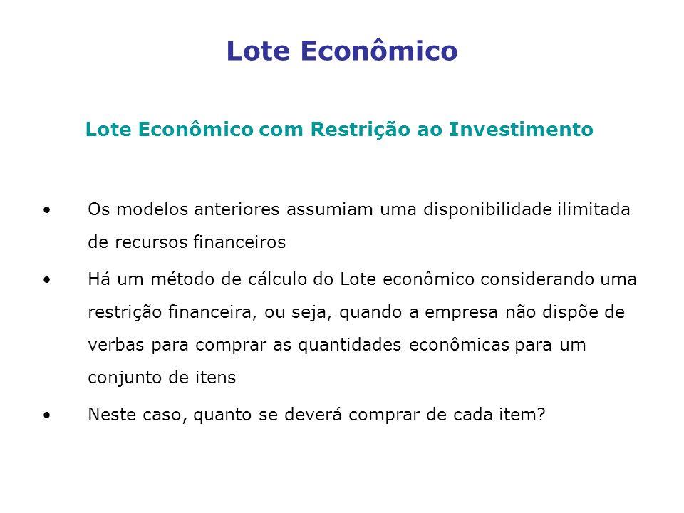Lote Econômico Lote Econômico com Restrição ao Investimento Os modelos anteriores assumiam uma disponibilidade ilimitada de recursos financeiros Há um