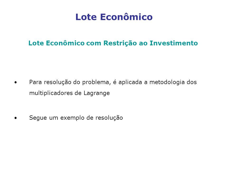 Lote Econômico Lote Econômico com Restrição ao Investimento Para resolução do problema, é aplicada a metodologia dos multiplicadores de Lagrange Segue