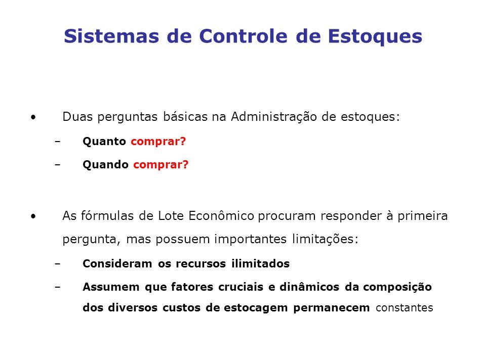 Sistemas de Controle de Estoques Duas perguntas básicas na Administração de estoques: –Quanto comprar? –Quando comprar? As fórmulas de Lote Econômico