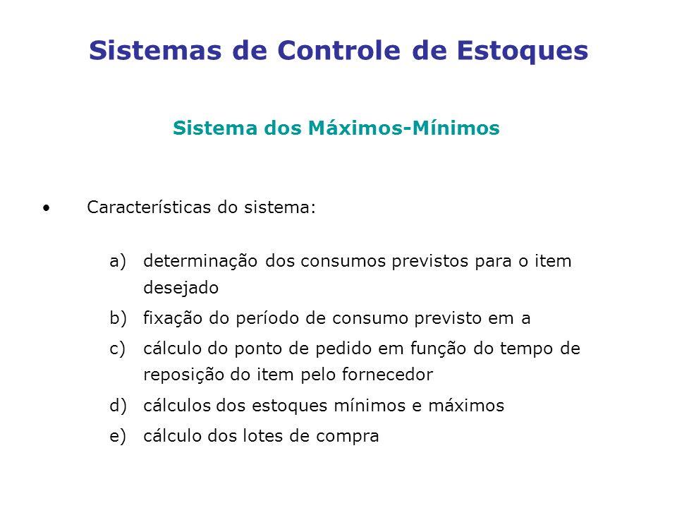 Sistemas de Controle de Estoques Sistema dos Máximos-Mínimos Características do sistema: a)determinação dos consumos previstos para o item desejado b)