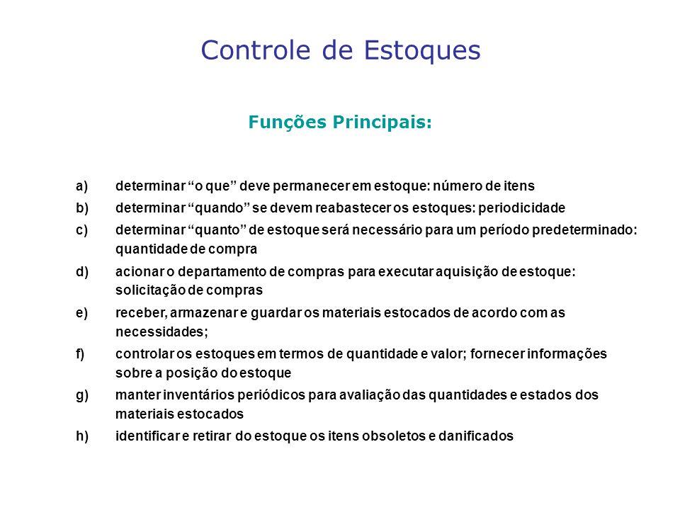 Controle de Estoques Funções Principais: a)determinar o que deve permanecer em estoque: número de itens b)determinar quando se devem reabastecer os es
