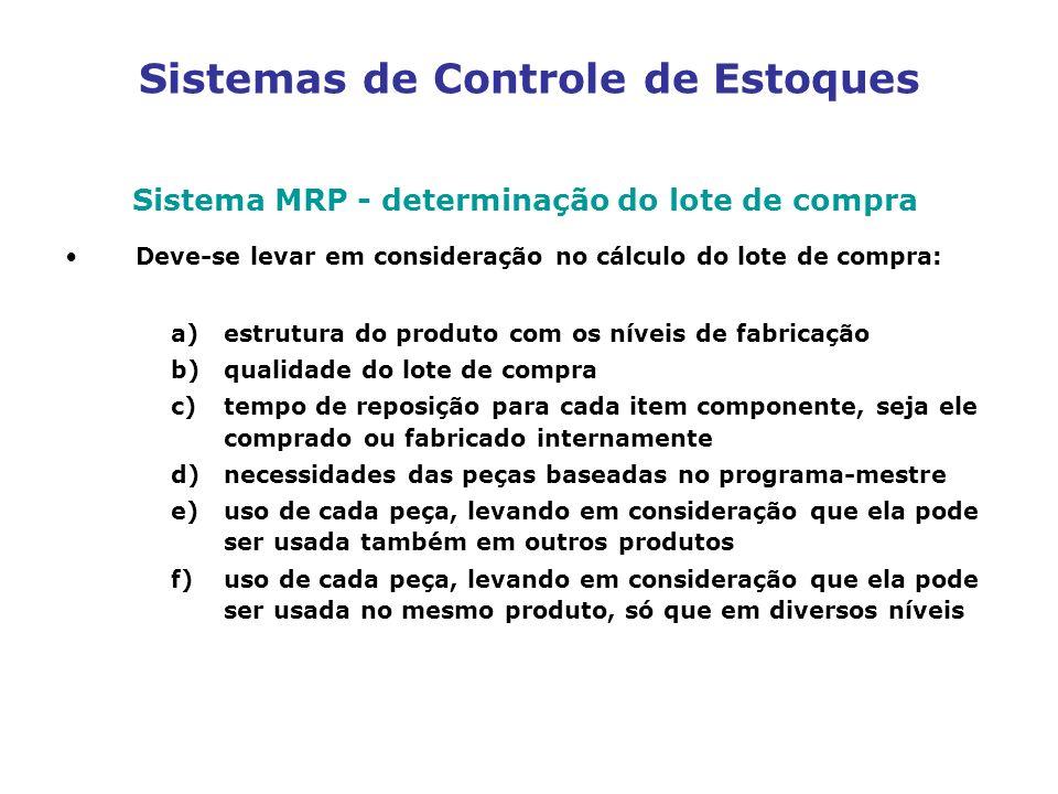 Sistemas de Controle de Estoques Sistema MRP - determinação do lote de compra Deve-se levar em consideração no cálculo do lote de compra: a)estrutura