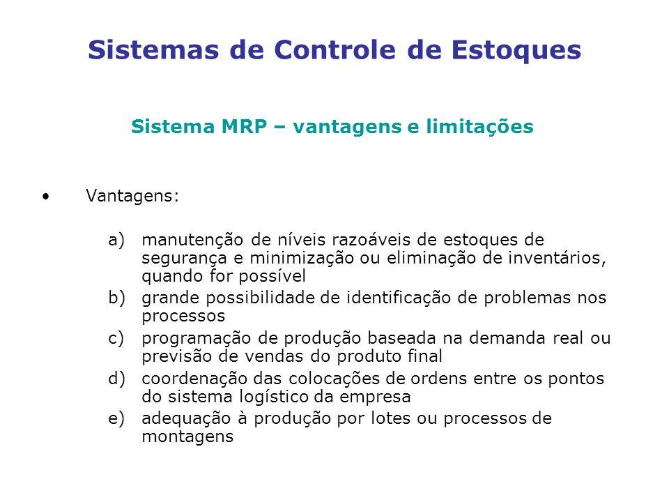 Sistemas de Controle de Estoques Sistema MRP – vantagens e limitações Vantagens: a)manutenção de níveis razoáveis de estoques de segurança e minimizaç