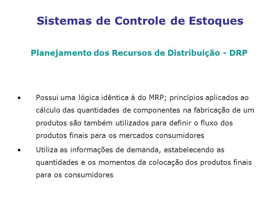 Sistemas de Controle de Estoques Planejamento dos Recursos de Distribuição - DRP Possui uma lógica idêntica à do MRP; princípios aplicados ao cálculo