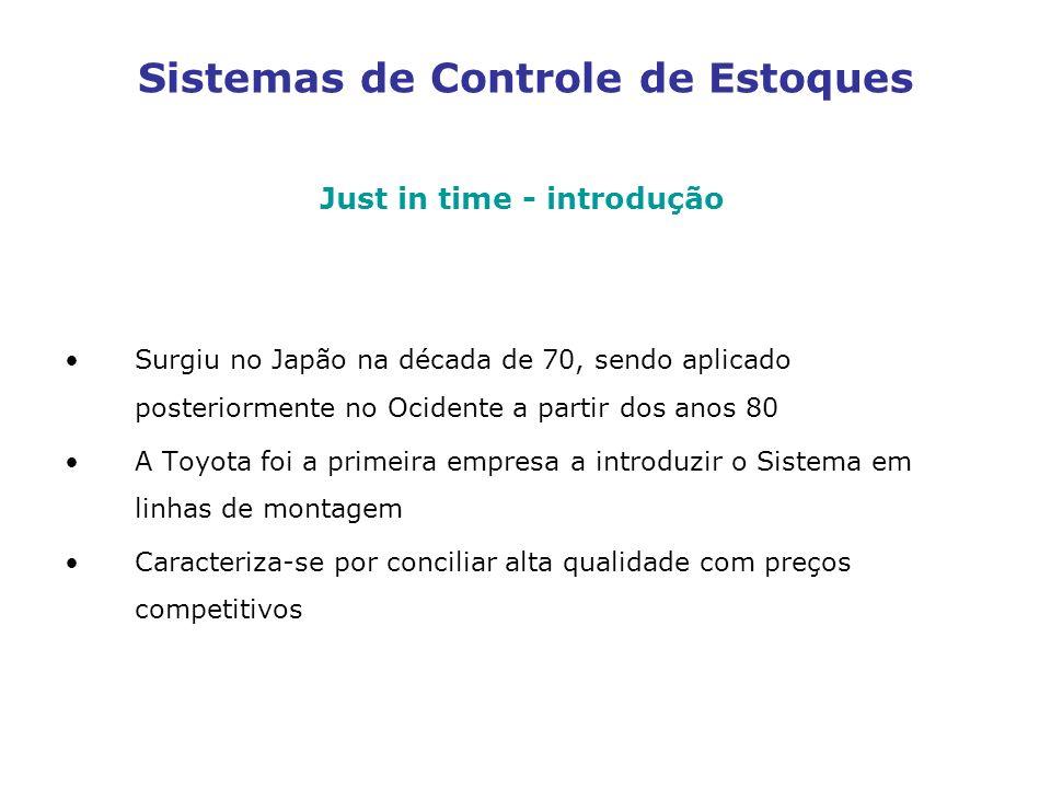 Sistemas de Controle de Estoques Just in time - introdução Surgiu no Japão na década de 70, sendo aplicado posteriormente no Ocidente a partir dos ano