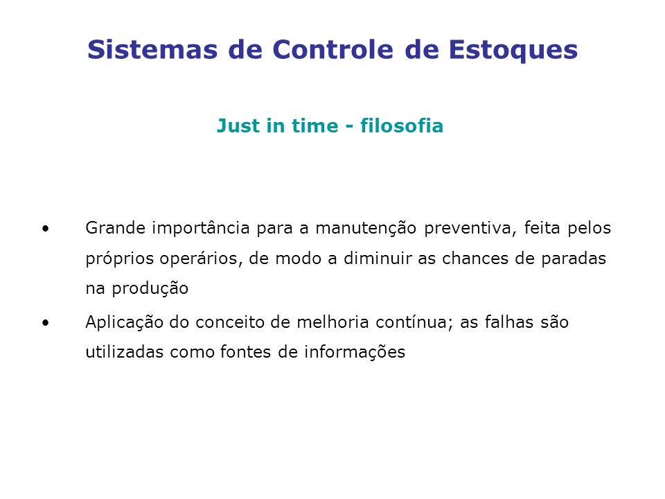 Sistemas de Controle de Estoques Just in time - filosofia Grande importância para a manutenção preventiva, feita pelos próprios operários, de modo a d