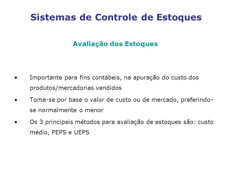 Sistemas de Controle de Estoques Avaliação dos Estoques Importante para fins contábeis, na apuração do custo dos produtos/mercadorias vendidos Toma-se