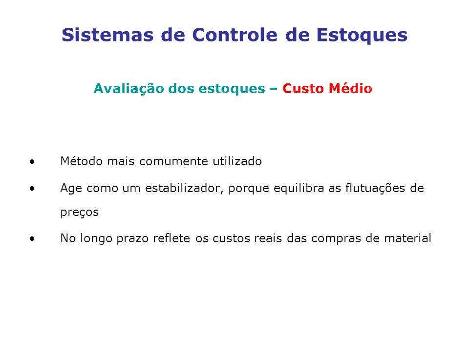 Sistemas de Controle de Estoques Avaliação dos estoques – Custo Médio Método mais comumente utilizado Age como um estabilizador, porque equilibra as f
