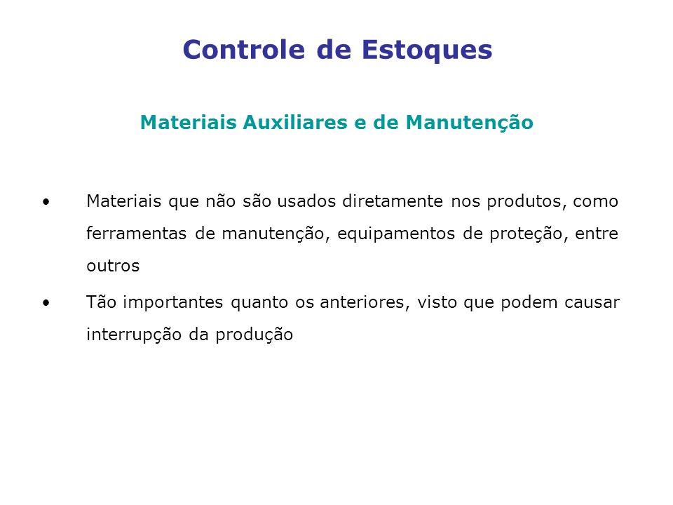 Controle de Estoques Materiais Auxiliares e de Manutenção Materiais que não são usados diretamente nos produtos, como ferramentas de manutenção, equip