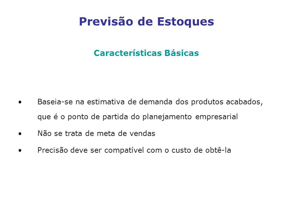 Previsão de Estoques Características Básicas Baseia-se na estimativa de demanda dos produtos acabados, que é o ponto de partida do planejamento empres