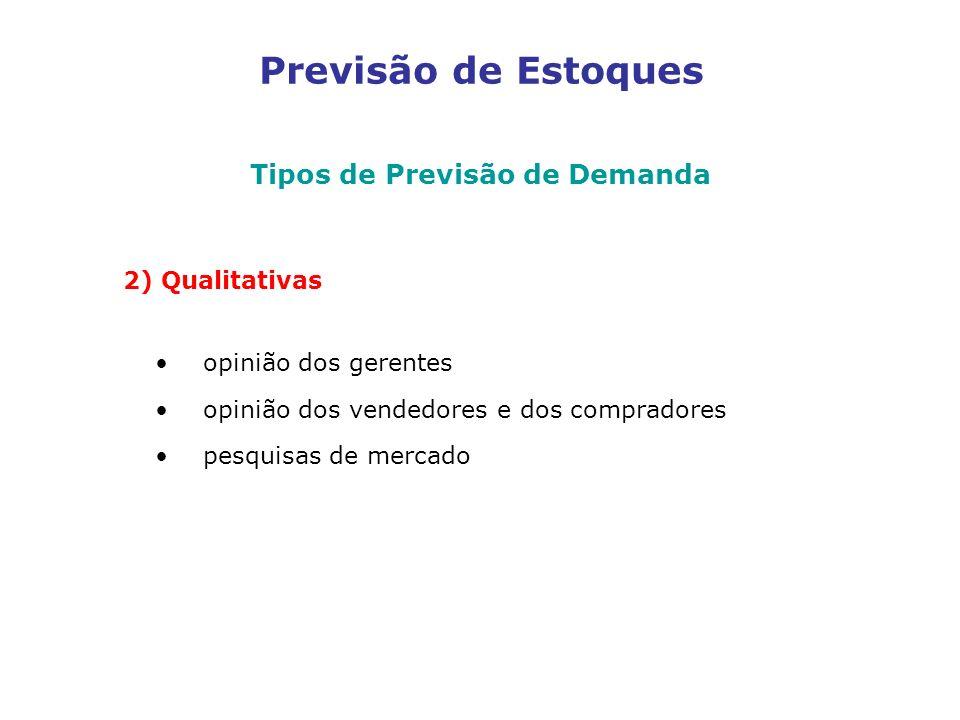Previsão de Estoques Tipos de Previsão de Demanda 2) Qualitativas opinião dos gerentes opinião dos vendedores e dos compradores pesquisas de mercado