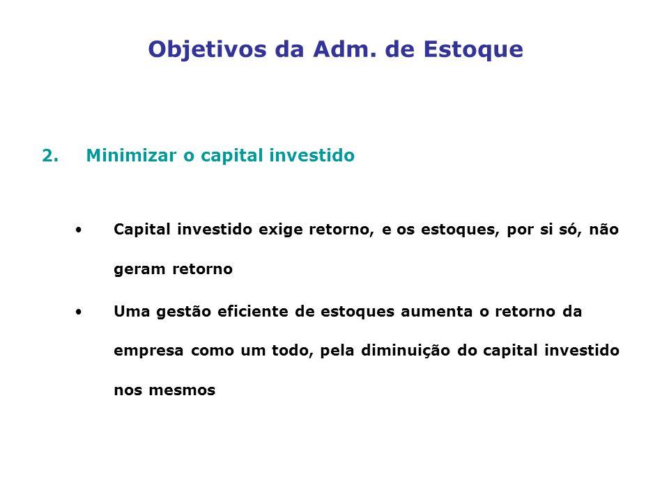 Objetivos da Adm. de Estoque 2.Minimizar o capital investido Capital investido exige retorno, e os estoques, por si só, não geram retorno Uma gestão e
