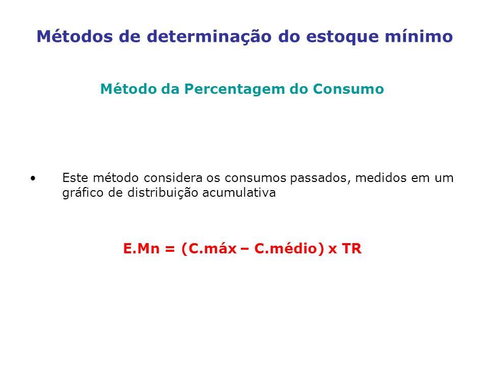Métodos de determinação do estoque mínimo Método da Percentagem do Consumo Este método considera os consumos passados, medidos em um gráfico de distri
