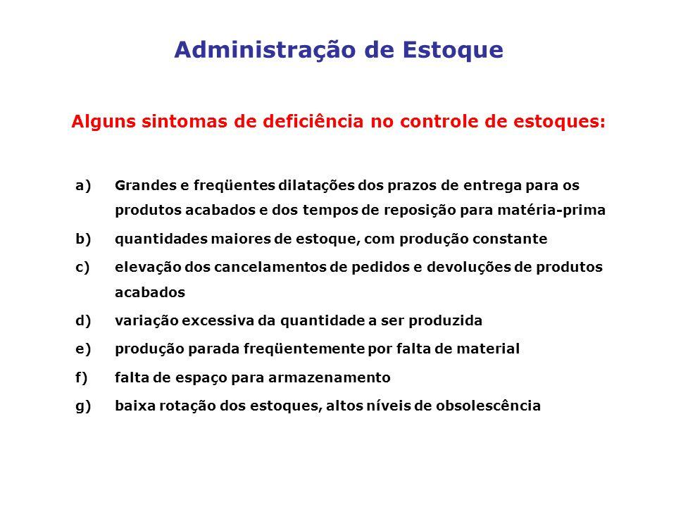 Administração de Estoque Alguns sintomas de deficiência no controle de estoques: a)Grandes e freqüentes dilatações dos prazos de entrega para os produ