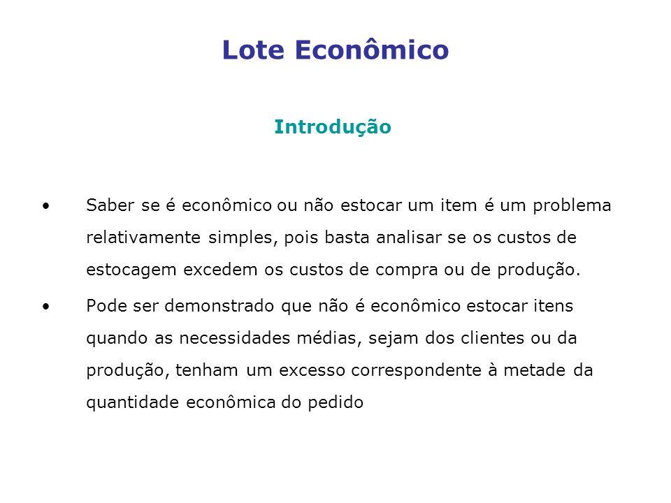 Lote Econômico Introdução Saber se é econômico ou não estocar um item é um problema relativamente simples, pois basta analisar se os custos de estocag