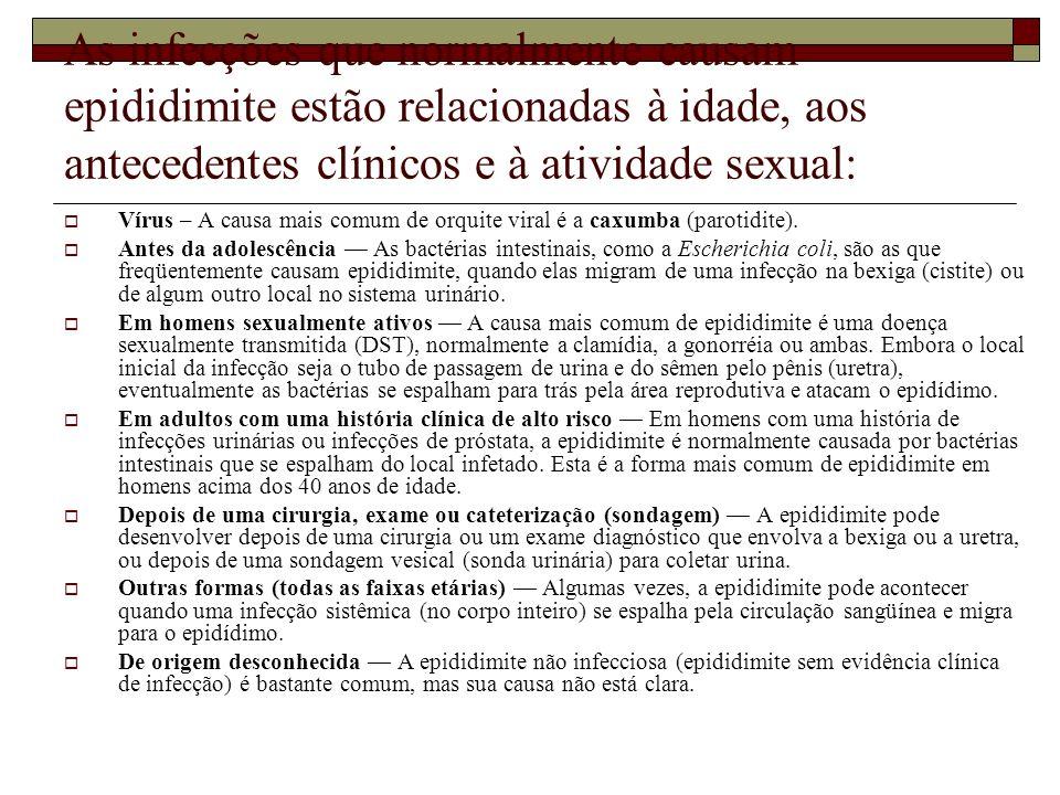 As infecções que normalmente causam epididimite estão relacionadas à idade, aos antecedentes clínicos e à atividade sexual: Vírus – A causa mais comum