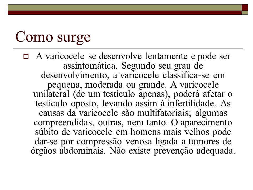 Evolução A varicocele já existente estabiliza-se ou progride.