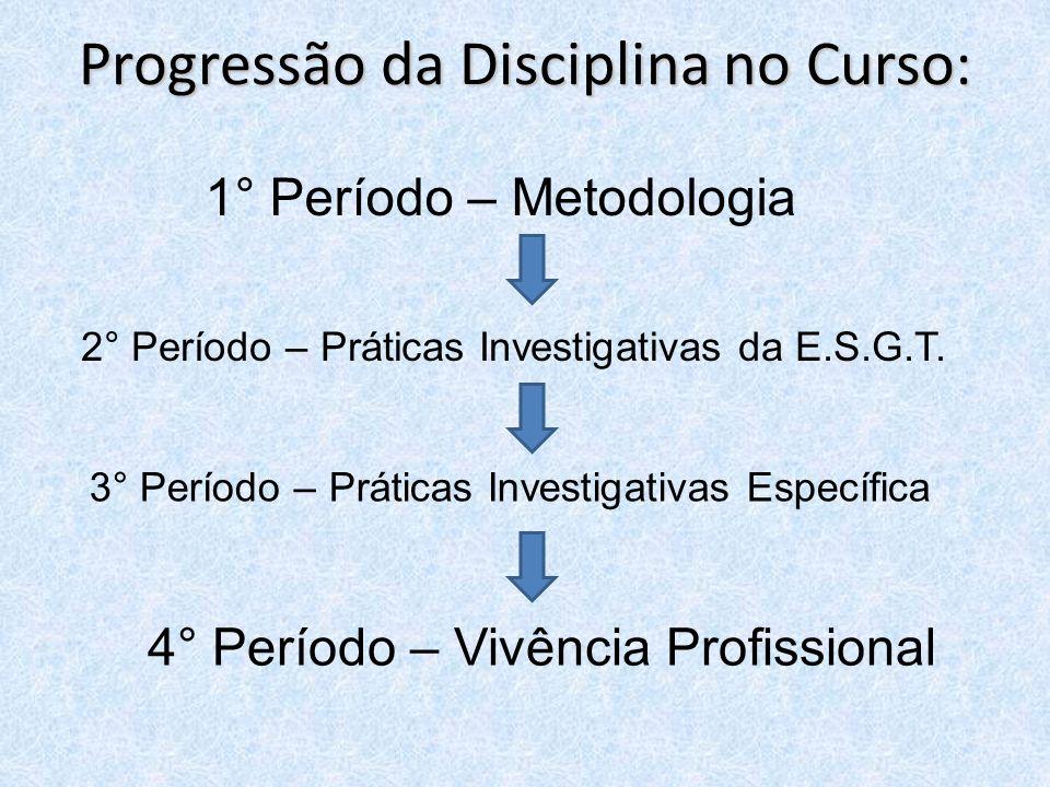 Progressão da Disciplina no Curso: 1° Período – Metodologia 2° Período – Práticas Investigativas da E.S.G.T. 3° Período – Práticas Investigativas Espe