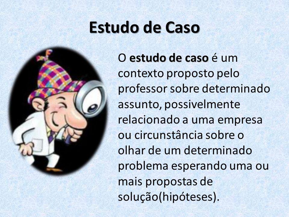 Estudo de Caso estudo de caso O estudo de caso é um contexto proposto pelo professor sobre determinado assunto, possivelmente relacionado a uma empres
