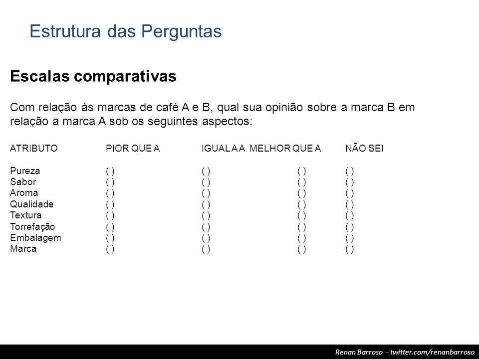 Renan Barroso - twitter.com/renanbarroso Escalas comparativas Com relação às marcas de café A e B, qual sua opinião sobre a marca B em relação a marca