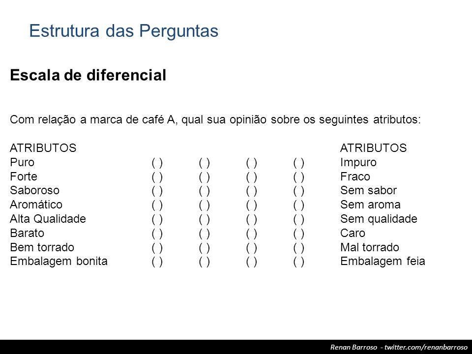 Renan Barroso - twitter.com/renanbarroso Escala de diferencial Com relação a marca de café A, qual sua opinião sobre os seguintes atributos:ATRIBUTOS