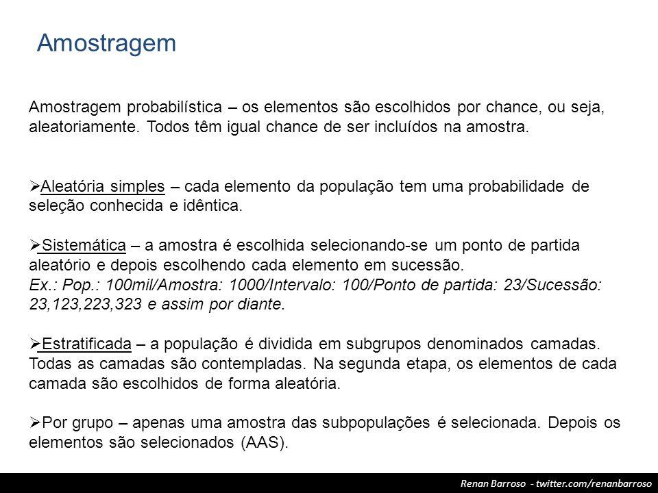 Renan Barroso - twitter.com/renanbarroso Amostragem Amostragem probabilística – os elementos são escolhidos por chance, ou seja, aleatoriamente. Todos