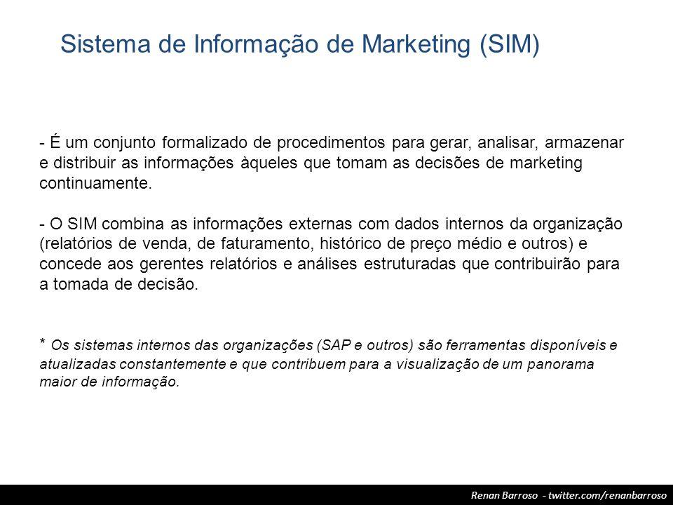 Renan Barroso - twitter.com/renanbarroso Sistema de Informação de Marketing (SIM) - É um conjunto formalizado de procedimentos para gerar, analisar, a