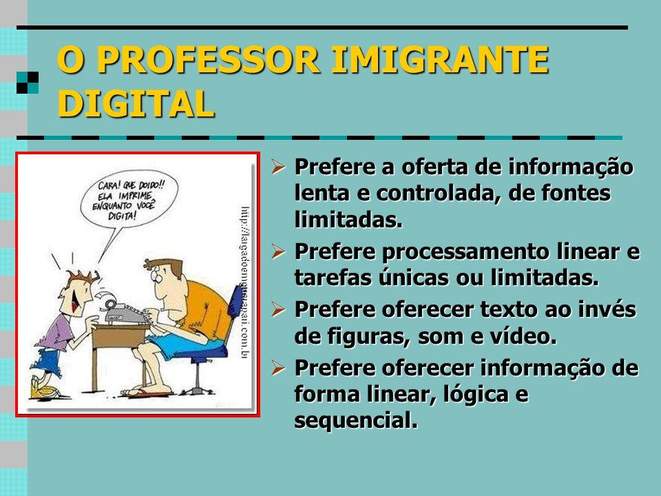 O PROFESSOR IMIGRANTE DIGITAL Prefere a oferta de informação lenta e controlada, de fontes limitadas. Prefere a oferta de informação lenta e controlad