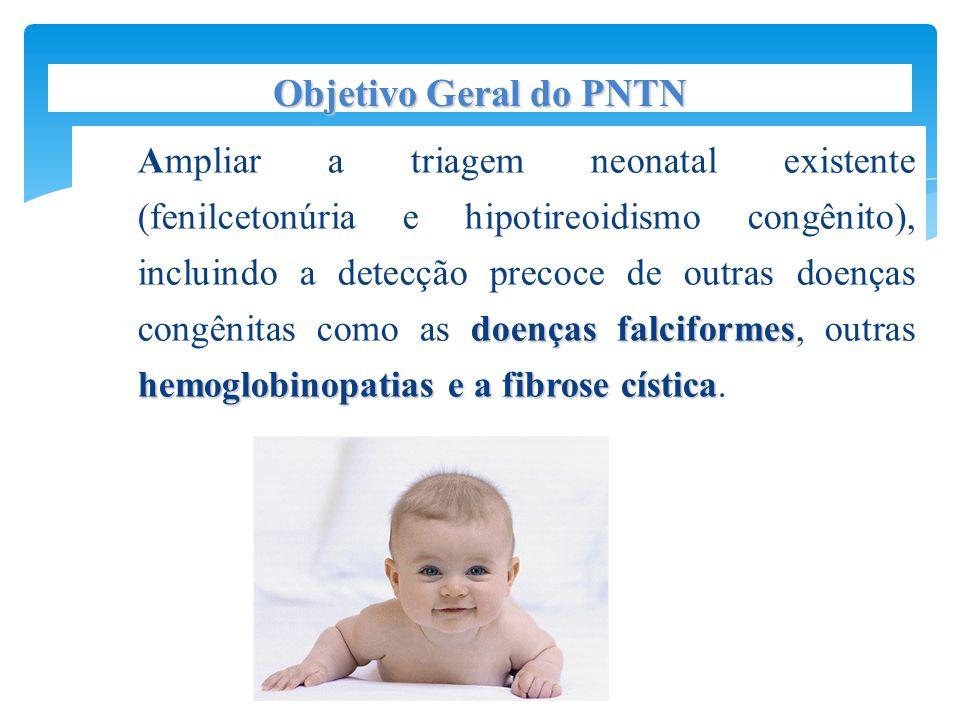 doenças falciformes hemoglobinopatias e a fibrose cística Ampliar a triagem neonatal existente (fenilcetonúria e hipotireoidismo congênito), incluindo