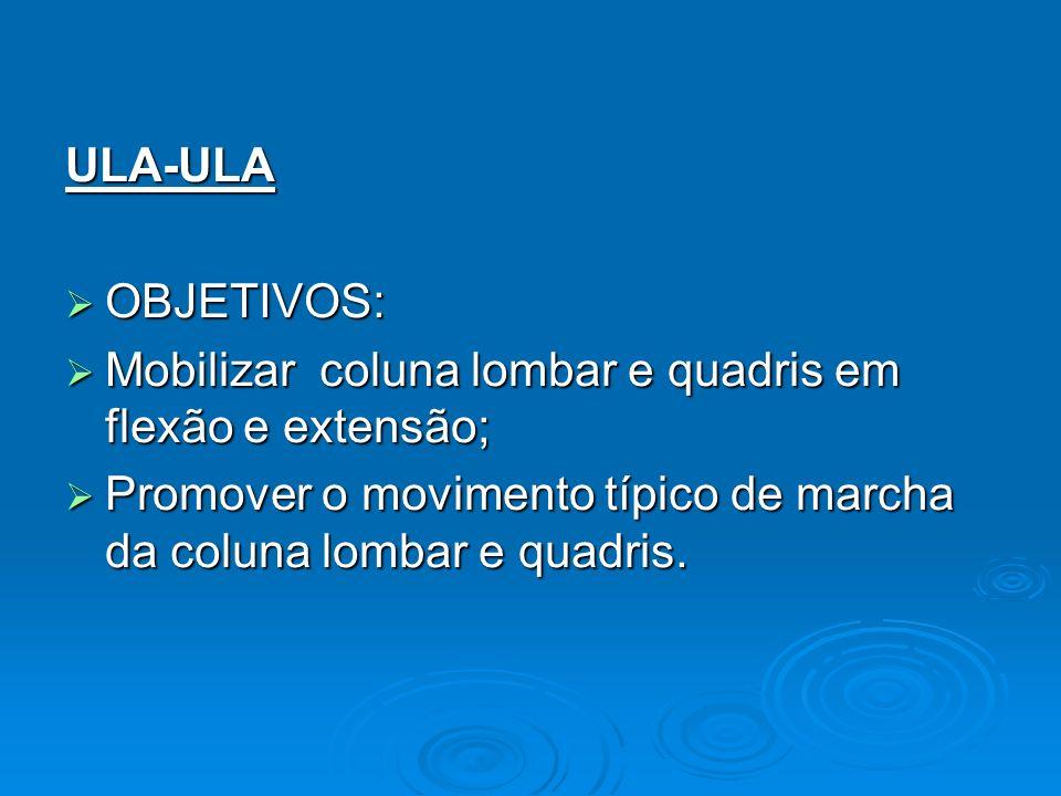 ULA-ULA OBJETIVOS: OBJETIVOS: Mobilizar coluna lombar e quadris em flexão e extensão; Mobilizar coluna lombar e quadris em flexão e extensão; Promover