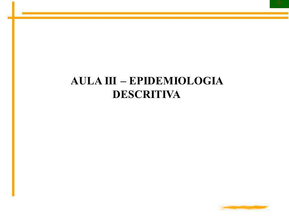 1 AULA III – EPIDEMIOLOGIA DESCRITIVA