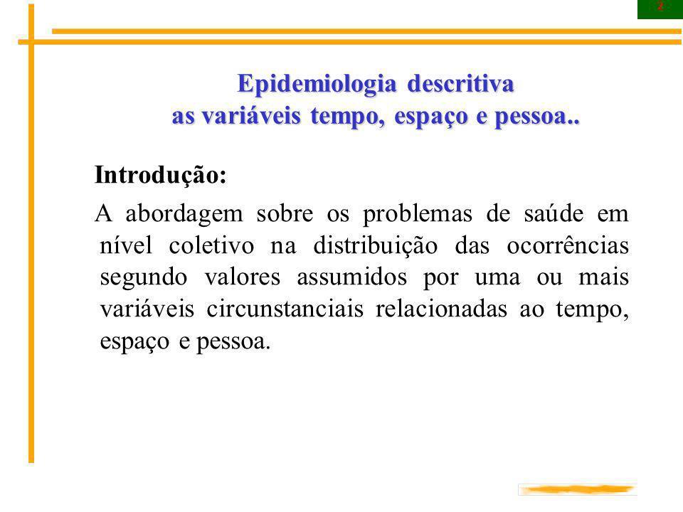 2 Epidemiologia descritiva as variáveis tempo, espaço e pessoa.. Introdução: A abordagem sobre os problemas de saúde em nível coletivo na distribuição