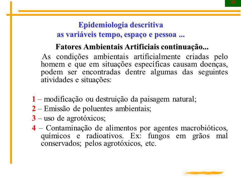 21 Epidemiologia descritiva as variáveis tempo, espaço e pessoa... Fatores Ambientais Artificiais continuação... As condições ambientais artificialmen