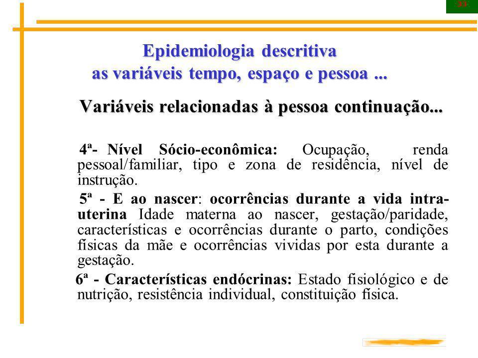 33 Epidemiologia descritiva as variáveis tempo, espaço e pessoa... Variáveis relacionadas à pessoa continuação... Variáveis relacionadas à pessoa cont