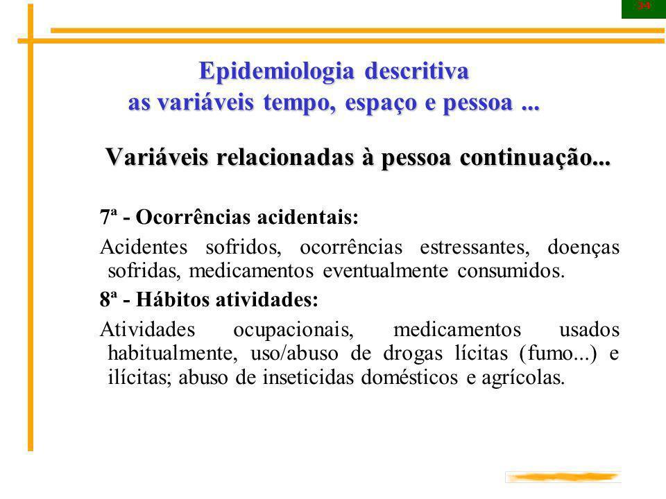 34 Epidemiologia descritiva as variáveis tempo, espaço e pessoa... Variáveis relacionadas à pessoa continuação... Variáveis relacionadas à pessoa cont
