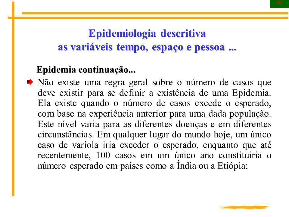 37 Epidemiologia descritiva as variáveis tempo, espaço e pessoa... Epidemia continuação... Epidemia continuação... Não existe uma regra geral sobre o