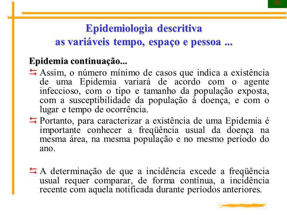 39 Epidemiologia descritiva as variáveis tempo, espaço e pessoa... Epidemia continuação... Assim, o número mínimo de casos que indica a existência de