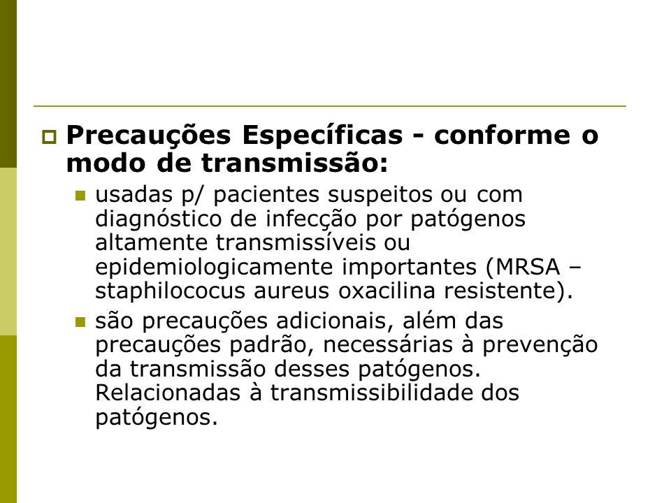 Precauções Específicas - conforme o modo de transmissão: usadas p/ pacientes suspeitos ou com diagnóstico de infecção por patógenos altamente transmis