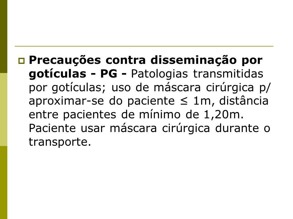 Precauções contra disseminação por gotículas - PG - Patologias transmitidas por gotículas; uso de máscara cirúrgica p/ aproximar-se do paciente 1m, di