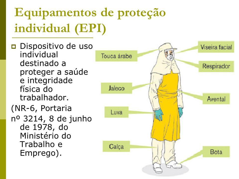 Equipamentos de proteção individual (EPI) Dispositivo de uso individual destinado a proteger a saúde e integridade física do trabalhador. (NR-6, Porta