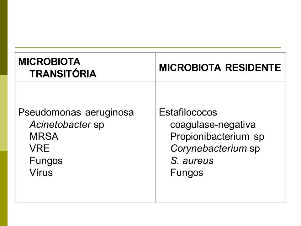 MICROBIOTA TRANSITÓRIA MICROBIOTA RESIDENTE Pseudomonas aeruginosa Acinetobacter sp MRSA VRE Fungos Vírus Estafilococos coagulase-negativa Propionibac