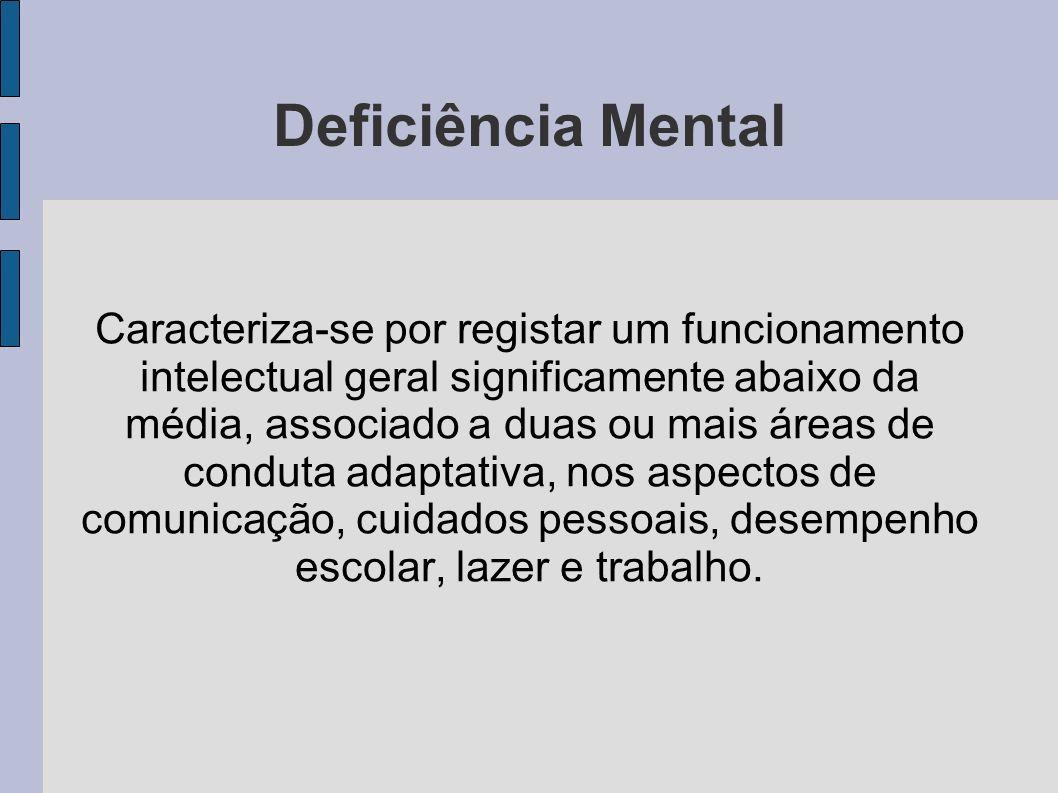 Deficiência Mental Caracteriza-se por registar um funcionamento intelectual geral significamente abaixo da média, associado a duas ou mais áreas de conduta adaptativa, nos aspectos de comunicação, cuidados pessoais, desempenho escolar, lazer e trabalho.