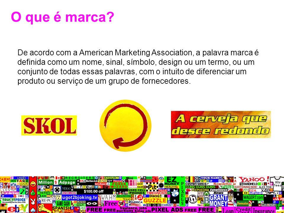 De acordo com a American Marketing Association, a palavra marca é definida como um nome, sinal, símbolo, design ou um termo, ou um conjunto de todas e