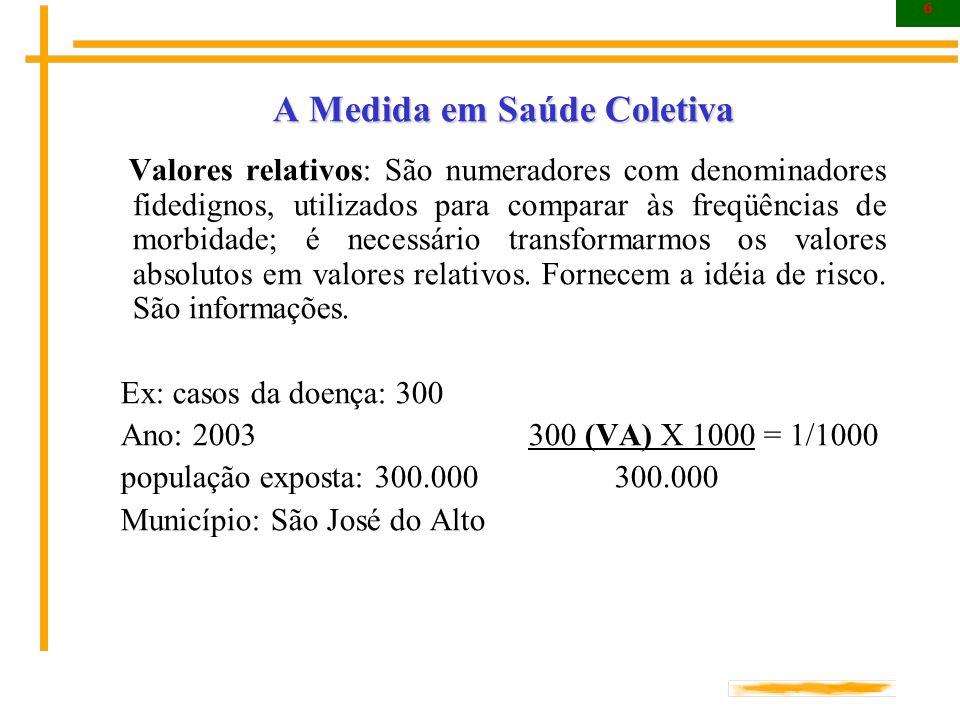 17 A Medida em Saúde Coletiva Morbidade As estatísticas de morbidade tem como característica fundamental o fato de serem utilizadas, preferencialmente, para a avaliação do nível de saúde e o aconselhamento de medidas de caráter abrangente (saneamento básico, por exemplo).