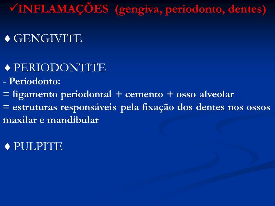 INFLAMAÇÕES (cavidade oral) Ptialismo Sialorréia Processos locais: faringite / glossite / gengivite / tonsilite Processo difuso : estomatite superficial / catarral / vesicular / necrótica / gangrenosa / granulomatosa