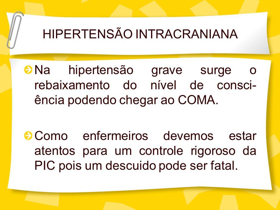 HIPERTENSÃO INTRACRANIANA Na hipertensão grave surge o rebaixamento do nível de consci- ência podendo chegar ao COMA. Como enfermeiros devemos estar a