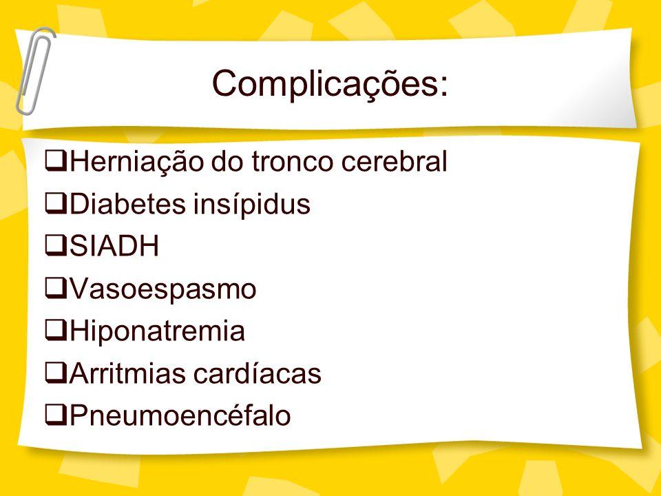 Complicações: Herniação do tronco cerebral Diabetes insípidus SIADH Vasoespasmo Hiponatremia Arritmias cardíacas Pneumoencéfalo