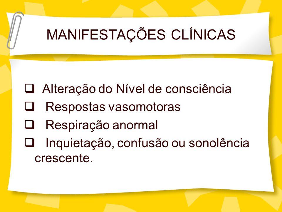 MANIFESTAÇÕES CLÍNICAS Alteração do Nível de consciência Respostas vasomotoras Respiração anormal Inquietação, confusão ou sonolência crescente.