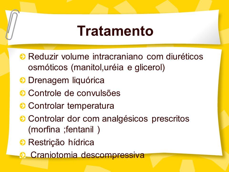 Tratamento Reduzir volume intracraniano com diuréticos osmóticos (manitol,uréia e glicerol) Drenagem liquórica Controle de convulsões Controlar temper